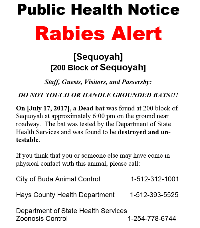 Rabies alert - 200 Block of Sequoyah - City of Buda Pic