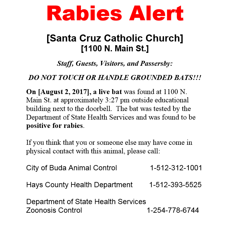 Rabies Alert - Santa Cruz Catholic Church - Aug. 2, 2017