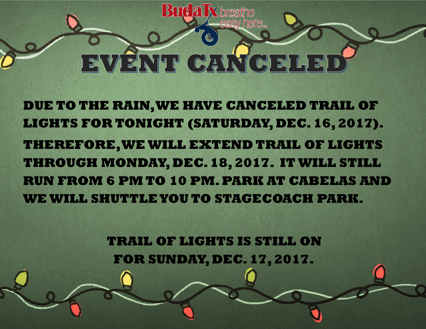 Trail of Lights Canceled