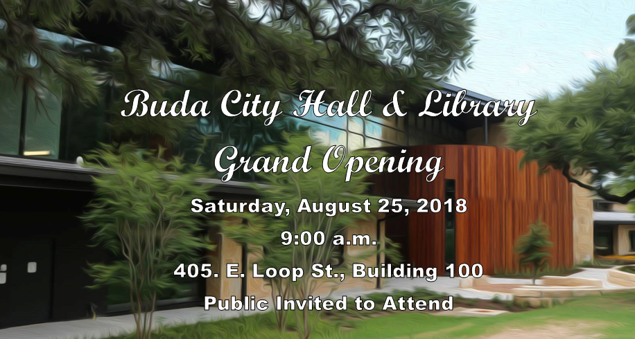 Buda City Hall and Library Grand Opening Facebook Invitation