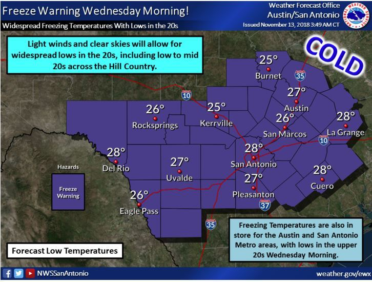Freeze Warning - Wed. Nov. 13