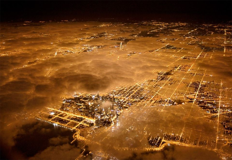 Chicago at night aerial photograph by Jim Richardson