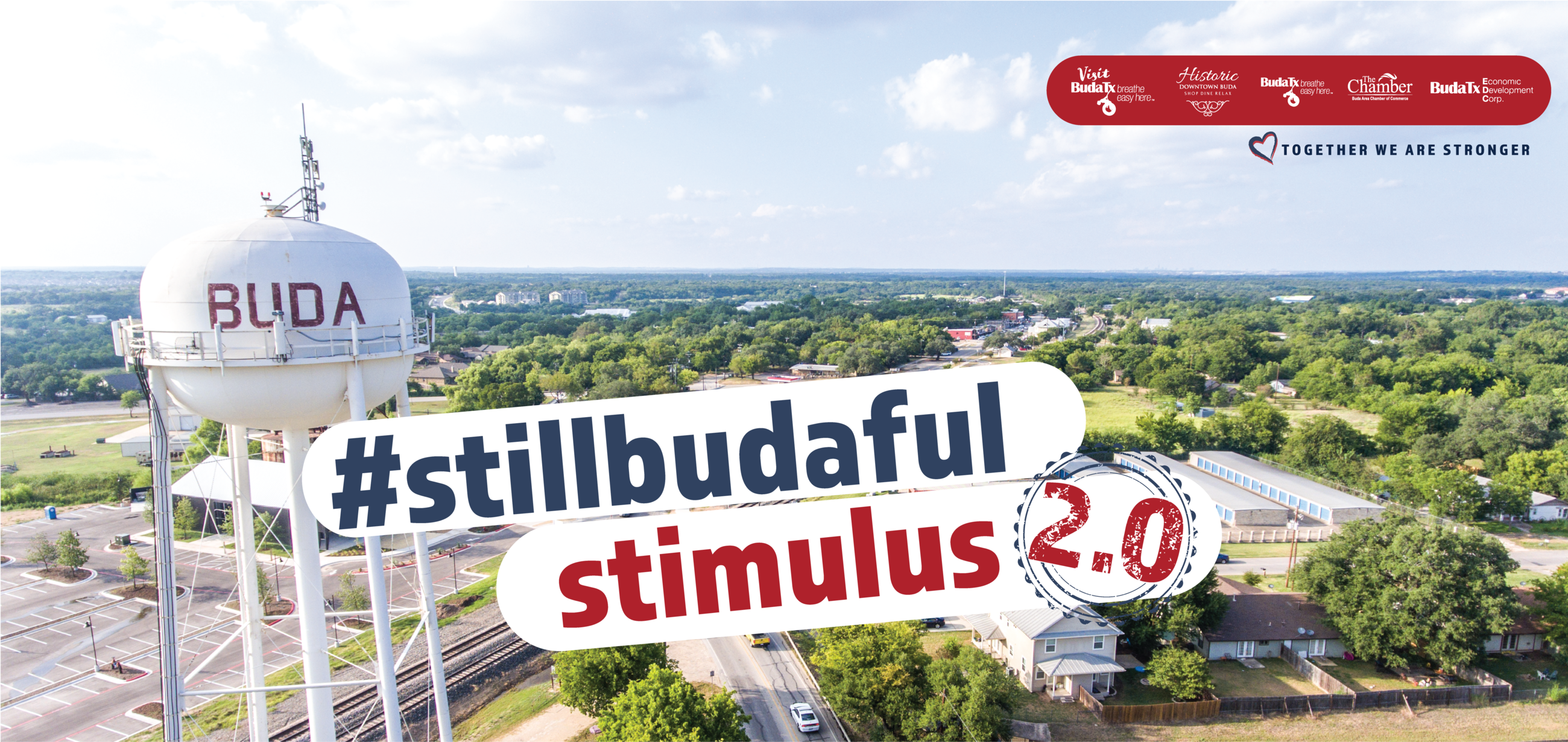 #stillbudaful Stimulus 2.0 words over Buda water tower