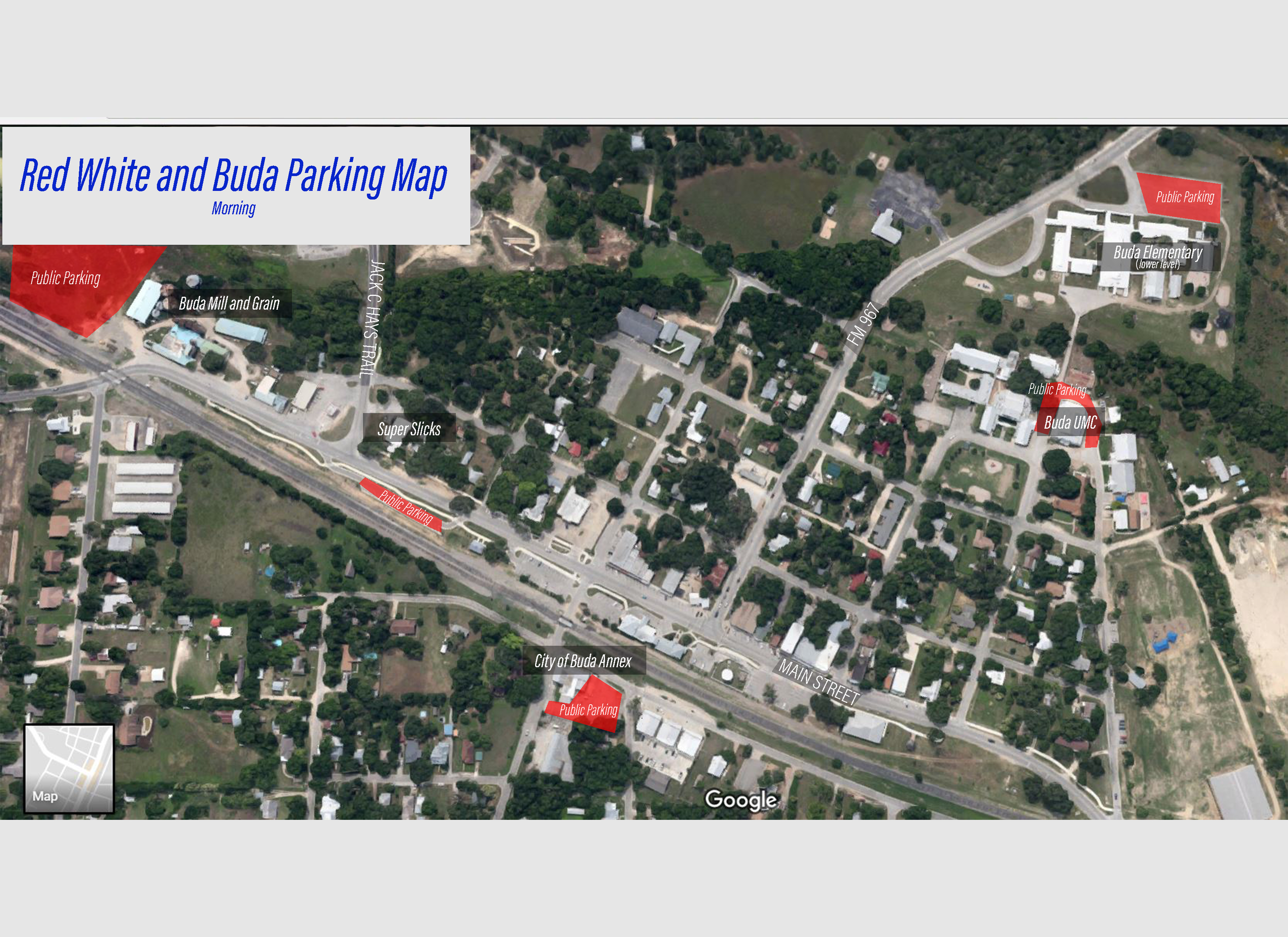 Red White and Buda Parking Map For Morning Events - July 4, 2108