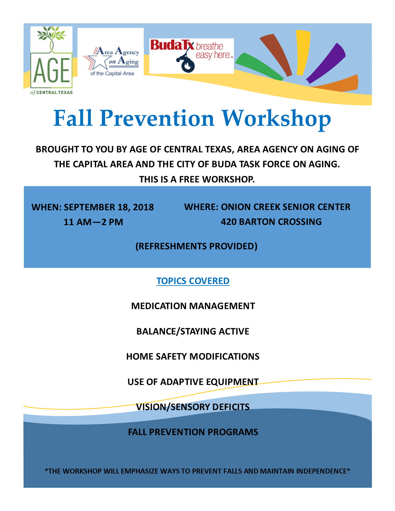 Fall Prevention Workshop Flyer