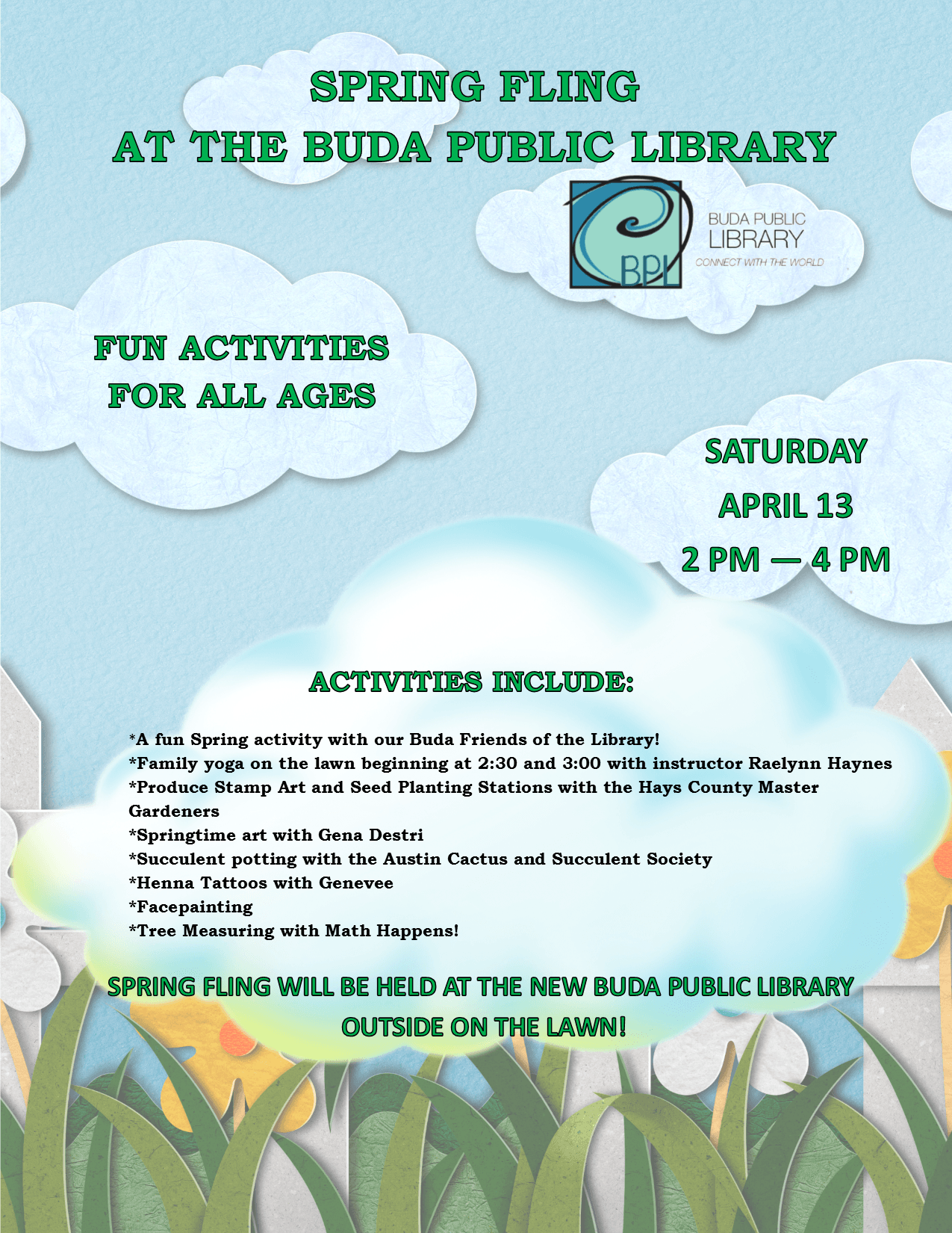 Spring Fling at the Buda Public Library - Saturday,  April 13, 2019