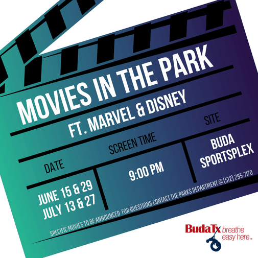 Movies in the Park Buda Sportsplex June and July
