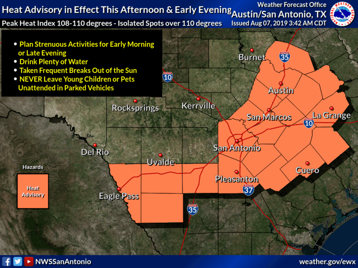 Heat Advisory Aug. 7, 2019