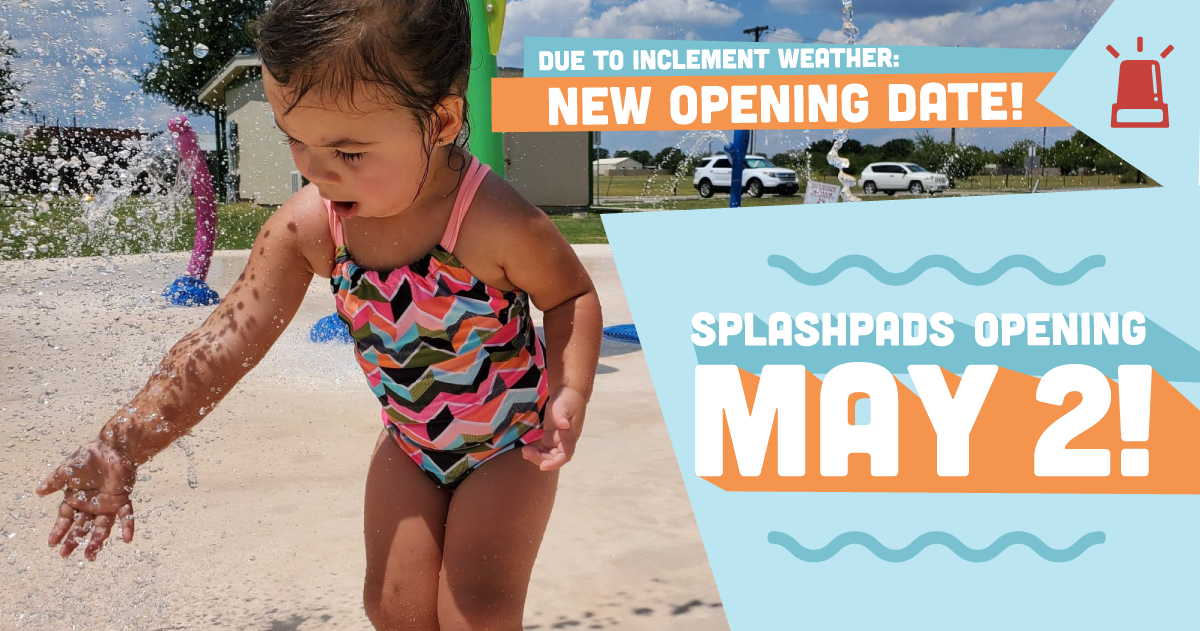 Image child at splash pad text new opening date is Sunday, May 2