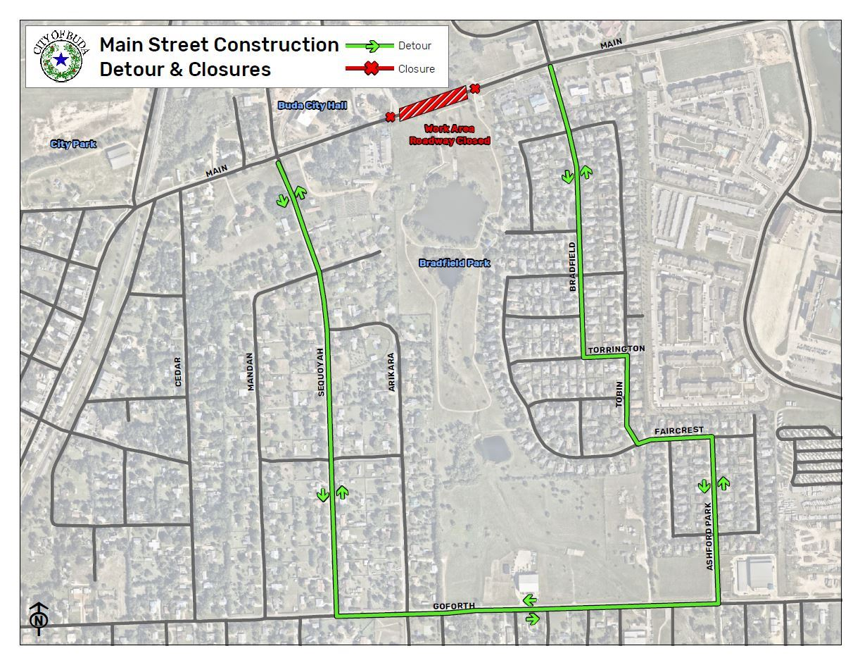 Main Street Construction Detour and Closures