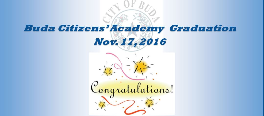 Group Photo of Buda Citizens' Academy 2016 Class